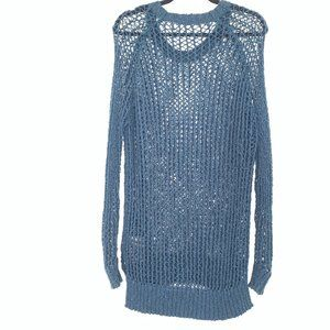 Silence + Noise Holey Loose Knit Sweater S Blue